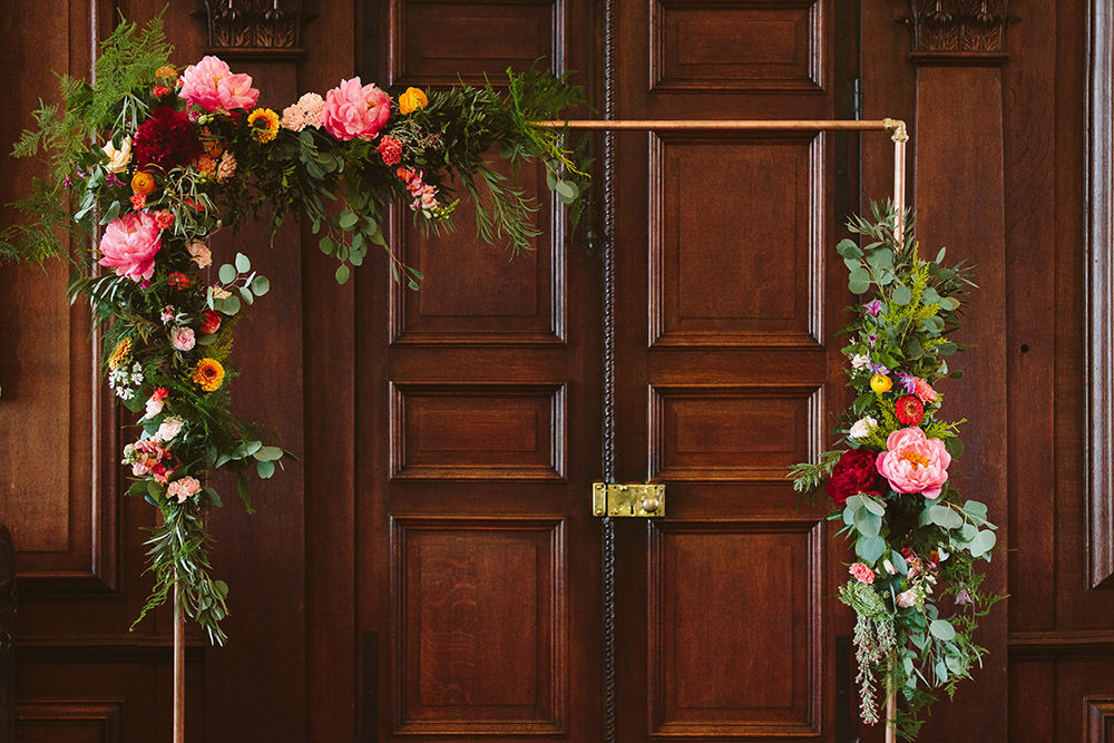 Metal Flower Arch Backdrop Ceremony Aisle Glynde Place Wedding Sarah London Photography