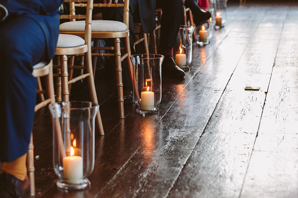 Candles Aisle Ceremony Glynde Place Wedding Sarah London Photography
