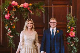 Glynde Place Wedding Sarah London Photography Metal Flower Arch Backdrop Ceremony Aisle