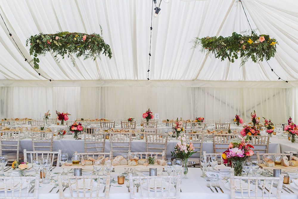 Marquee Decor Hanging Foliage Hoop Decor Glynde Place Wedding Sarah London Photography