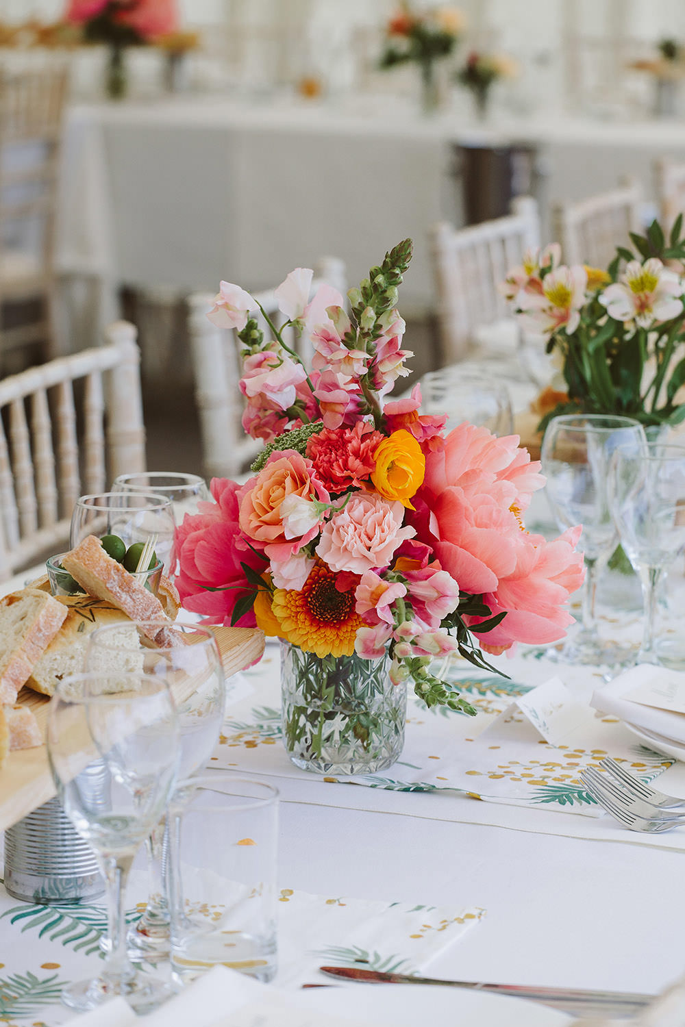Long Table Decor Colourful Flowers Vases Glynde Place Wedding Sarah London Photography