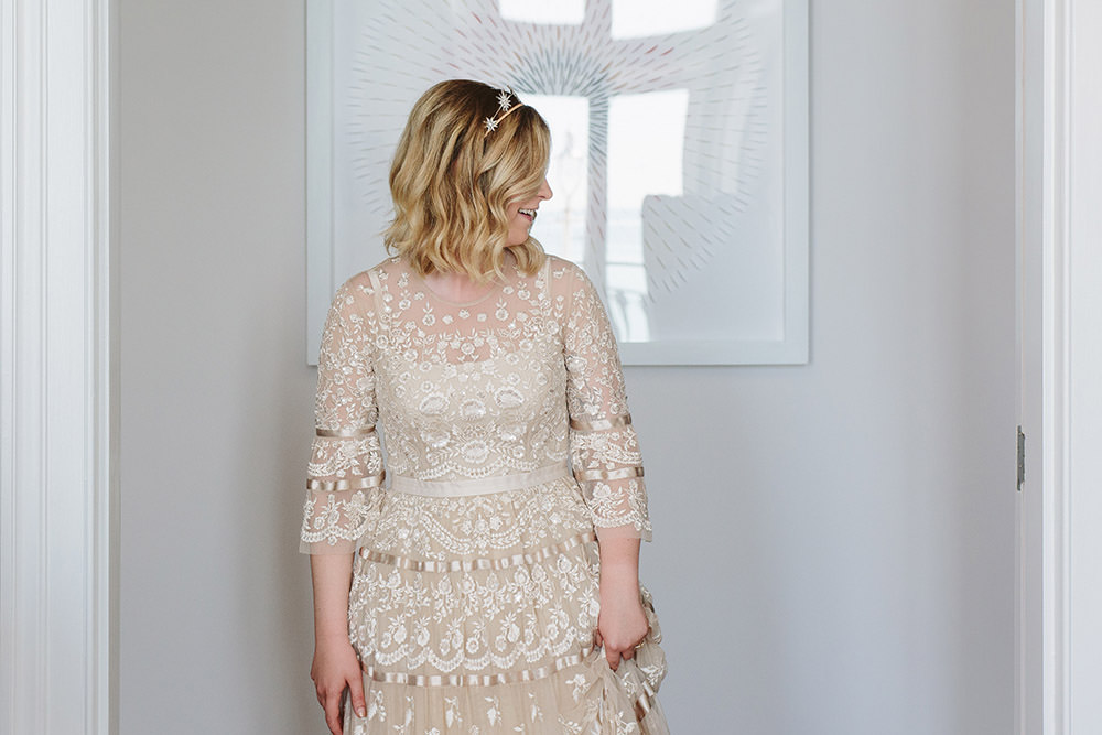 Dress Gown Bride Bridal Needle and Thread Lace Tier Long Sleeves Glynde Place Wedding Sarah London Photography