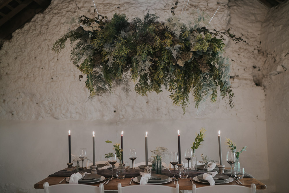 Suspended Flowers Installation Hanging Cloud Greenery Foliage Table Tablescape Grey Wedding Ideas Grace Elizabeth