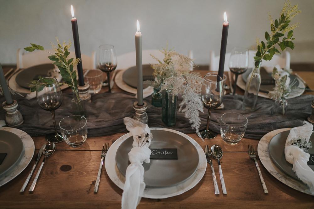 Place Setting Decor Grey Wedding Ideas Grace Elizabeth