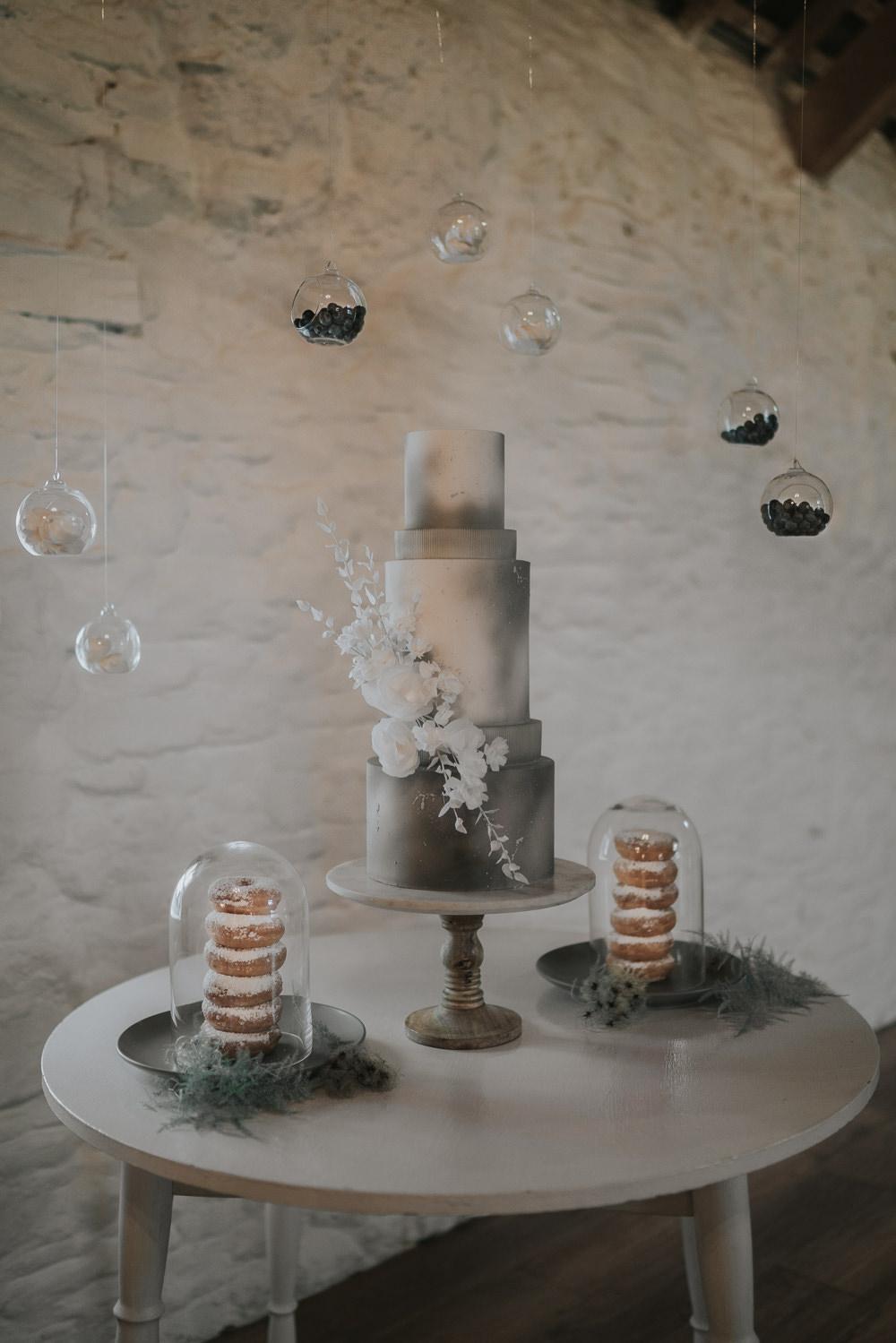 Tall Cake Flowers Cloud Dessert Table Grey Wedding Ideas Grace Elizabeth