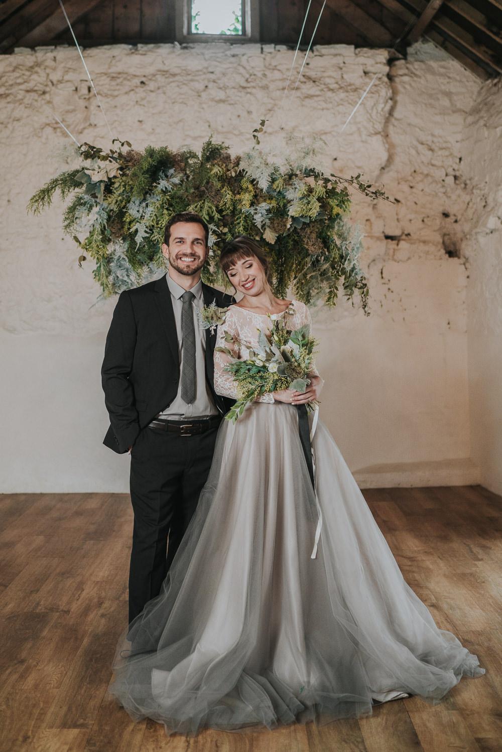 Grey Wedding Ideas Grace Elizabeth Suspended Flowers Installation Hanging Cloud Greenery Foliage