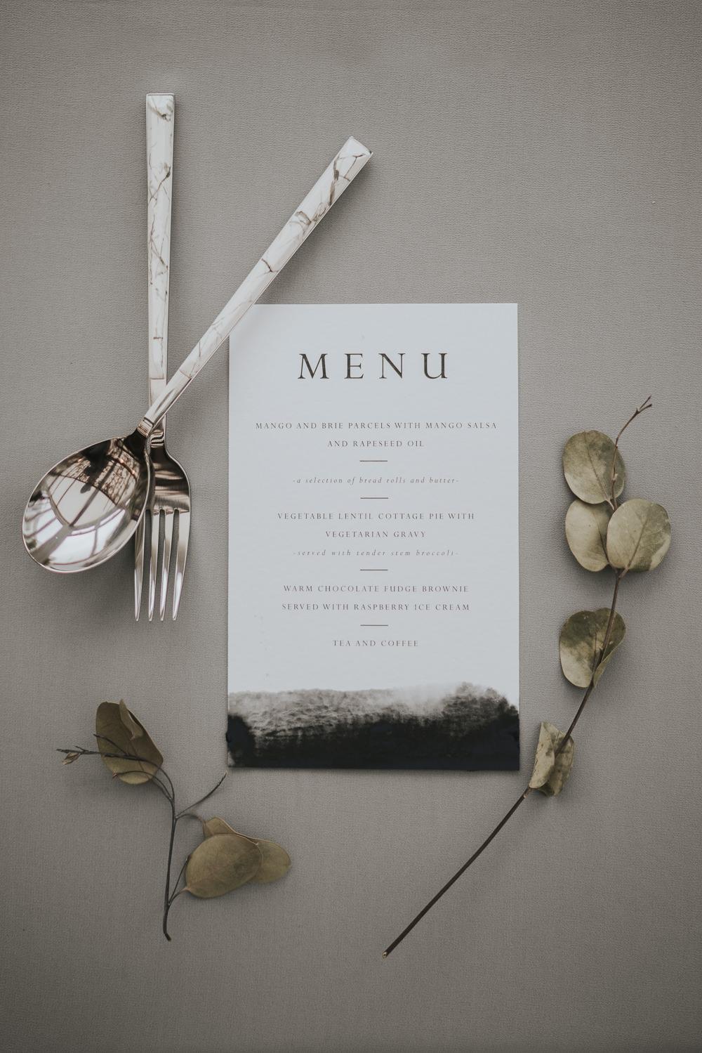 Menu Cultery Watercolour Grey Wedding Ideas Grace Elizabeth