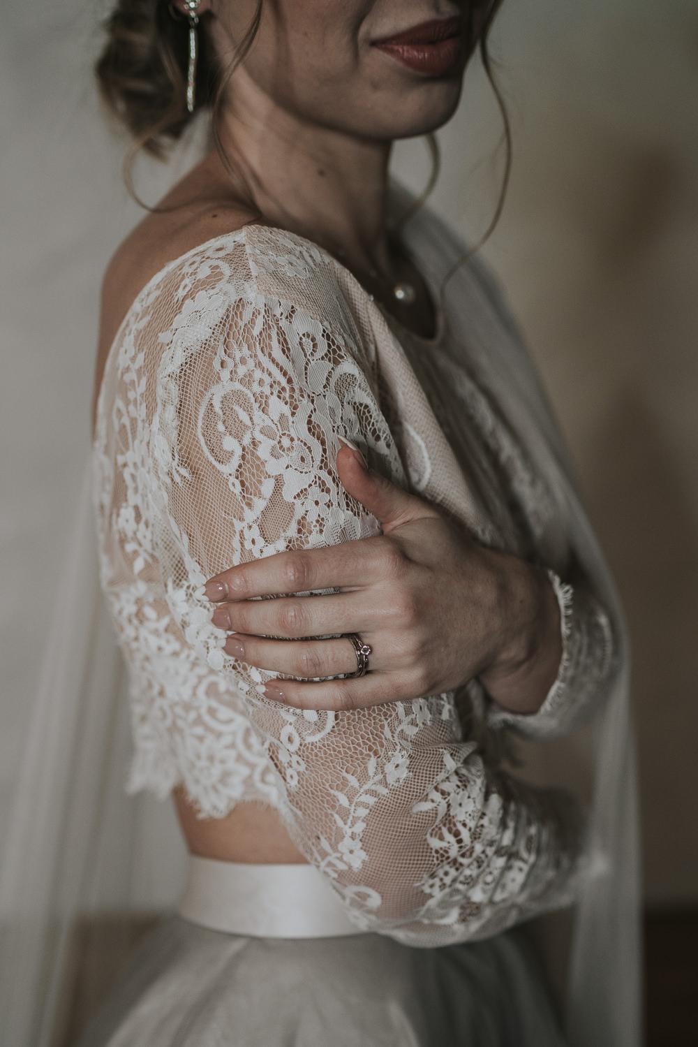 Dress Gown Bride Bridal Separates Lace Top Tulle Skirt Veil Grey Wedding Ideas Grace Elizabeth