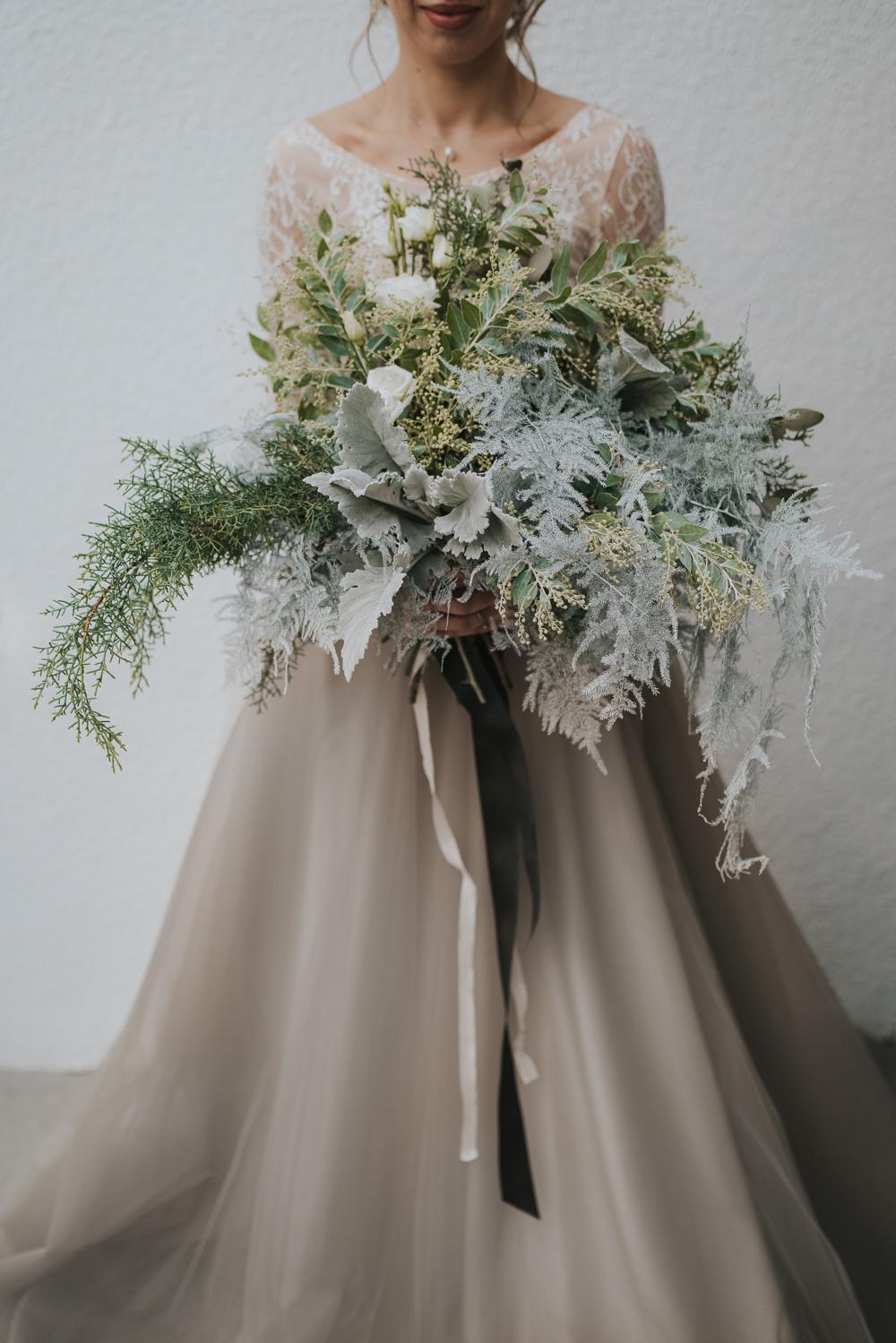 Bouquet Flowers Bride Bridal Ribbon Greenery Foliage Grey Wedding Ideas Grace Elizabeth