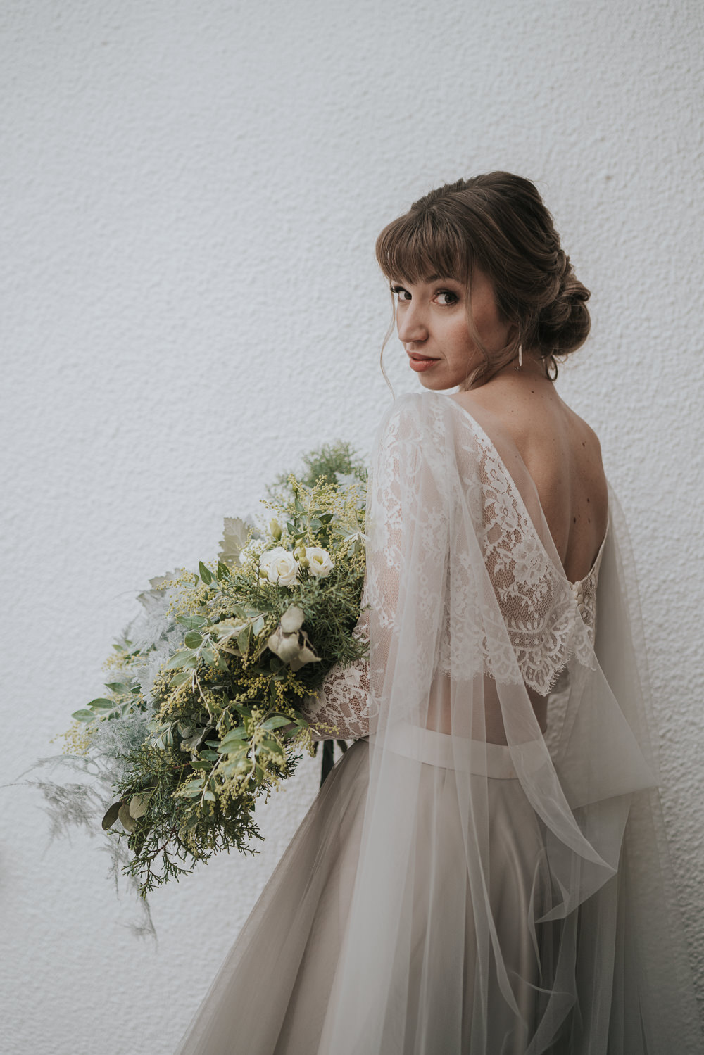 Dress Gown Bride Bridal Separates Lace Top Tulle Skirt Veil Cape Grey Wedding Ideas Grace Elizabeth