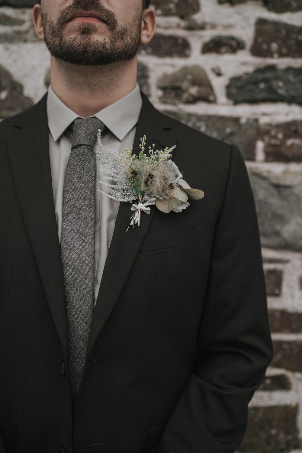 Groom Suit Tie Buttonhole Flowers Grey Wedding Ideas Grace Elizabeth
