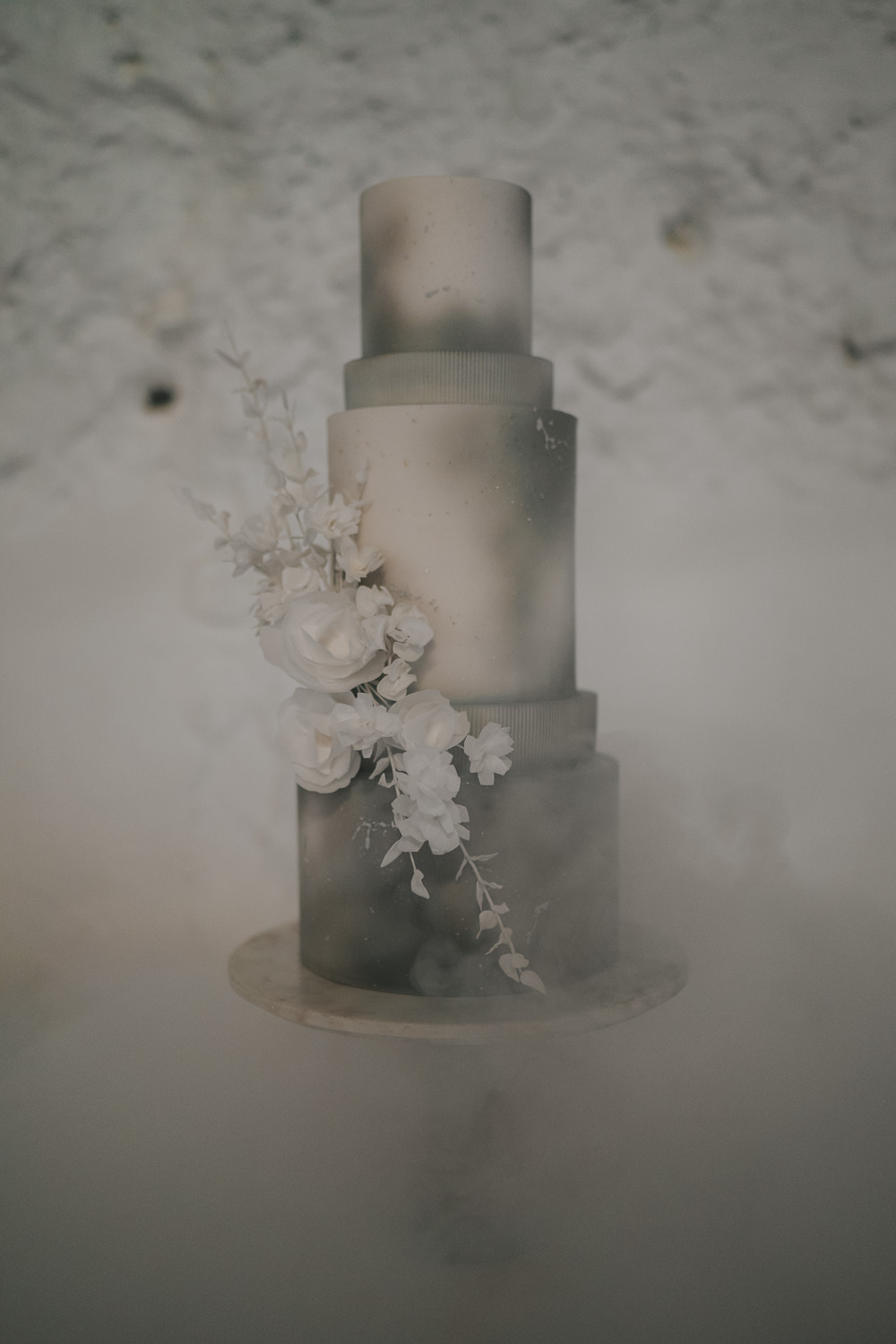 Tall Cake Flowers Cloud Smoke Grey Wedding Ideas Grace Elizabeth