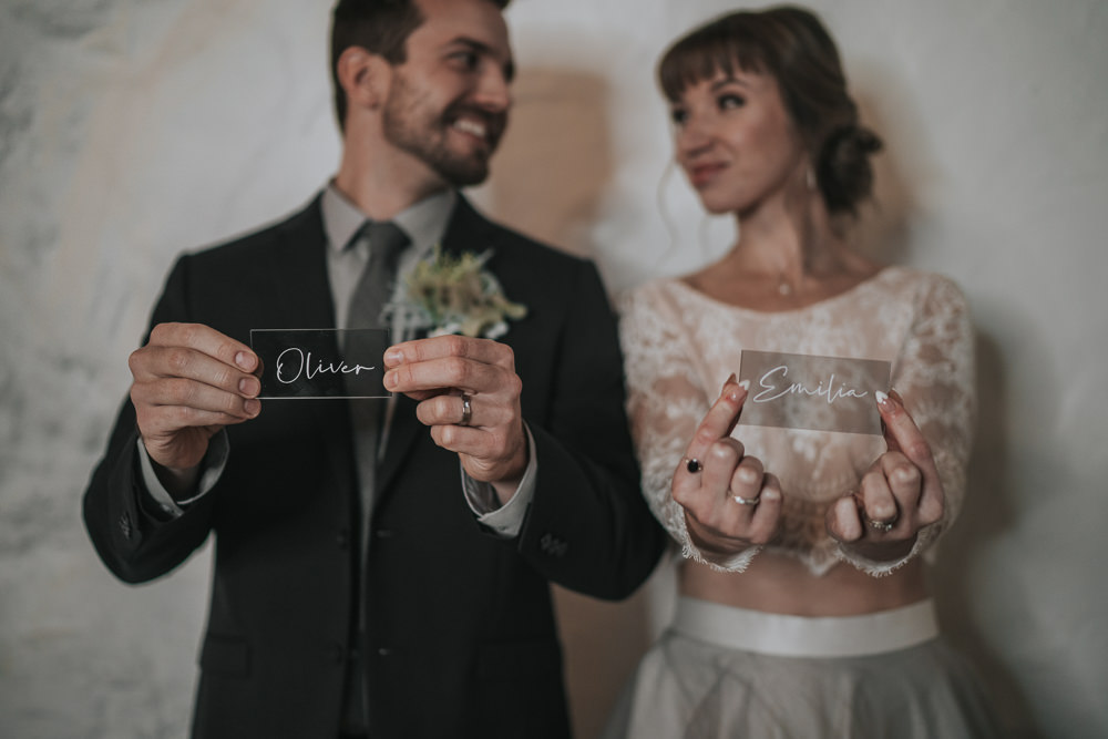 Calligraphy Place Name Clear Perspex Acrylic Grey Wedding Ideas Grace Elizabeth