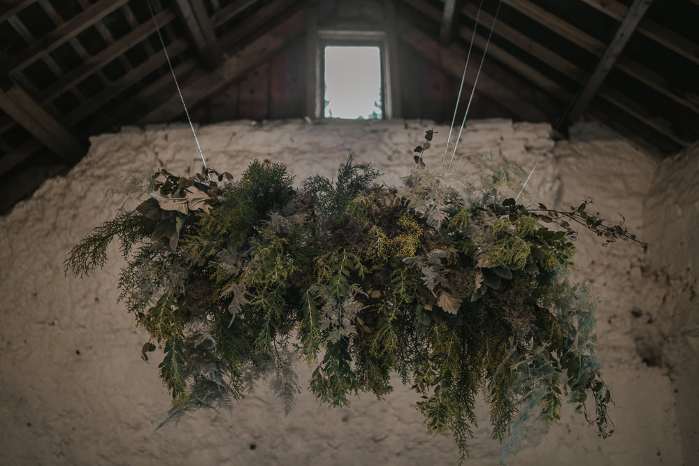 Suspended Flowers Installation Hanging Cloud Greenery Foliage Grey Wedding Ideas Grace Elizabeth