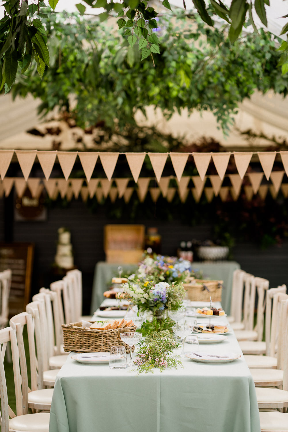 Table Decor Garland Flowers Centrpiece Long Tables Bunting Foliage Hoops Holford Estate Wedding Voyteck Photography