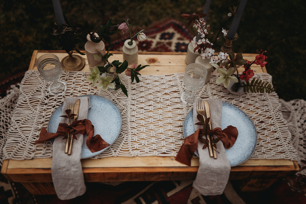 Table Tablescape Macrame Plates Linen Ribbon Candles Flowers LGBTQ+ Elopement Thyme Lane Photography
