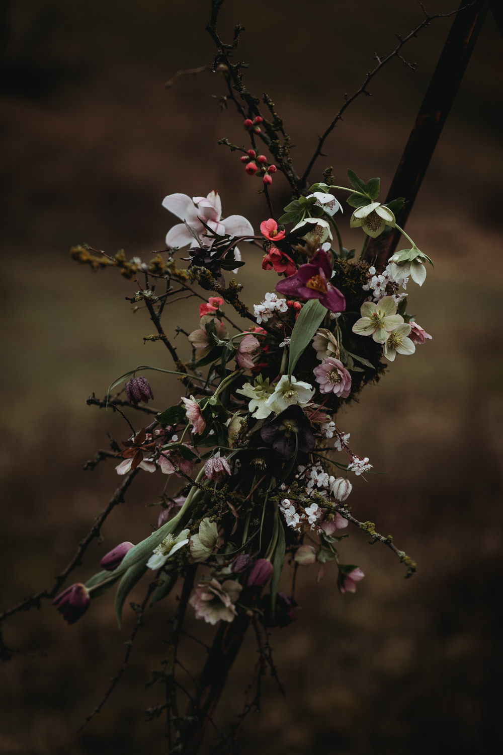 Triangle Flower Arch Backdrop Floral Wedding Ceremony Outdoors LGBTQ+ Elopement Thyme Lane Photography
