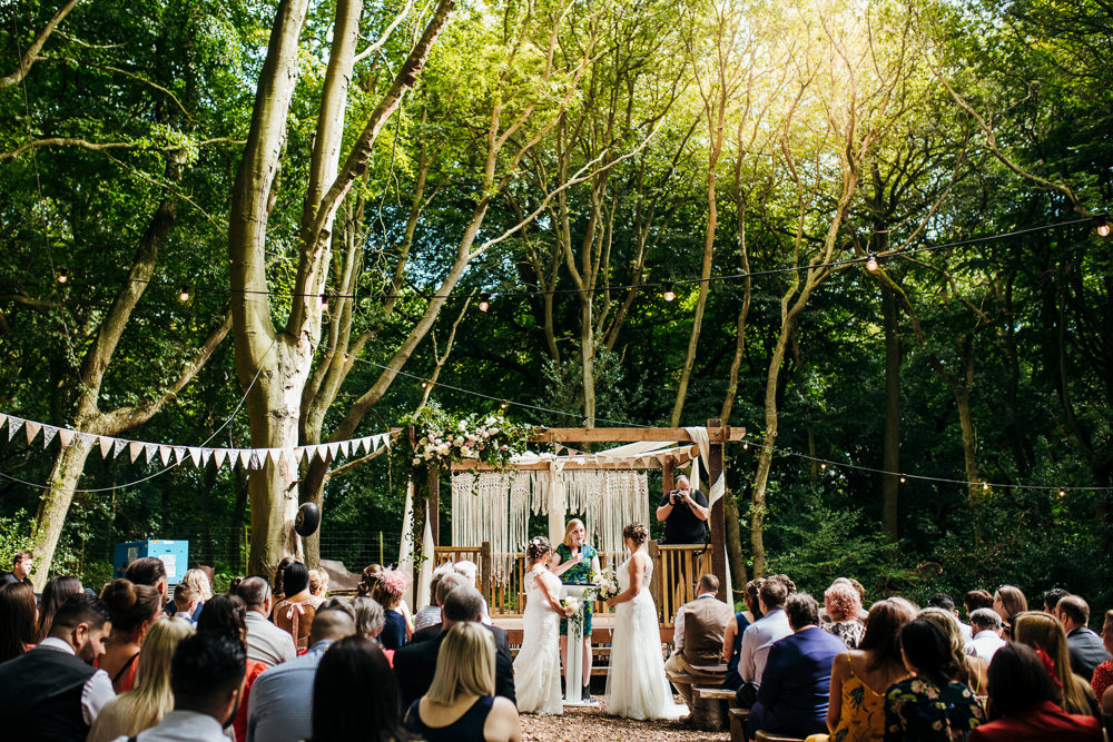 Macrame Backdrop Ceremony Woodland Lila's Wood Wedding Two-D Photography