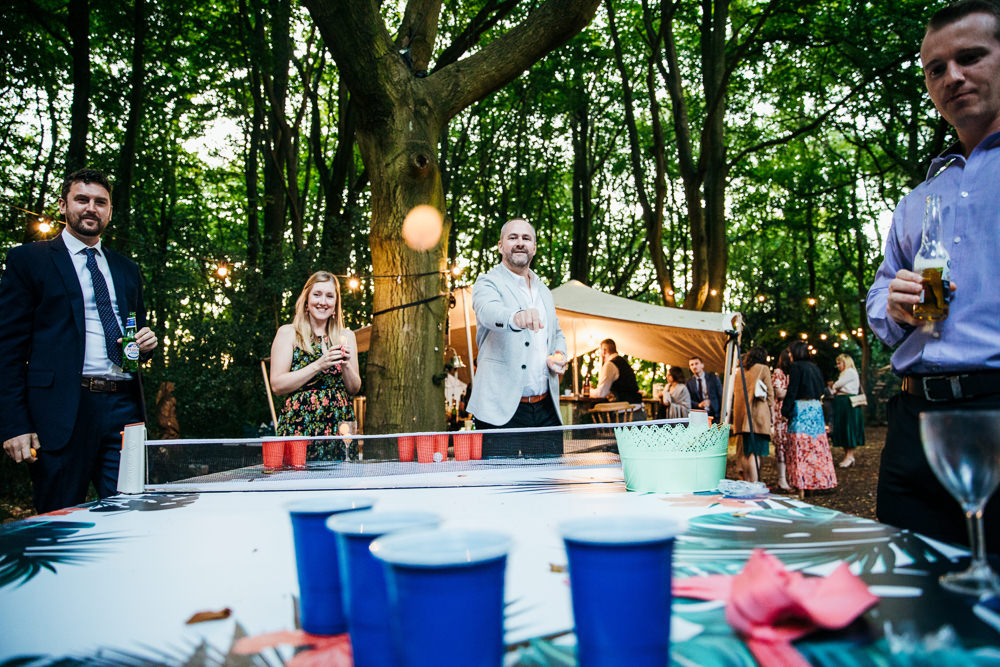 Beer Pong Game Lila's Wood Wedding Two-D Photography