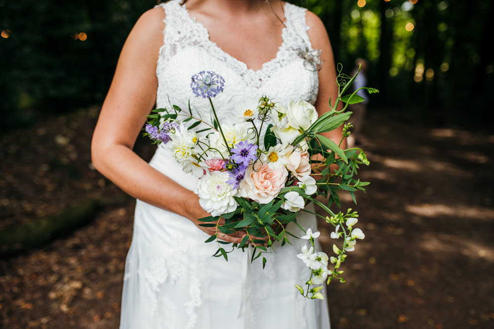 Bride Bridal Bouquet Flowers Wild Natural Peach Blue Lila's Wood Wedding Two-D Photography