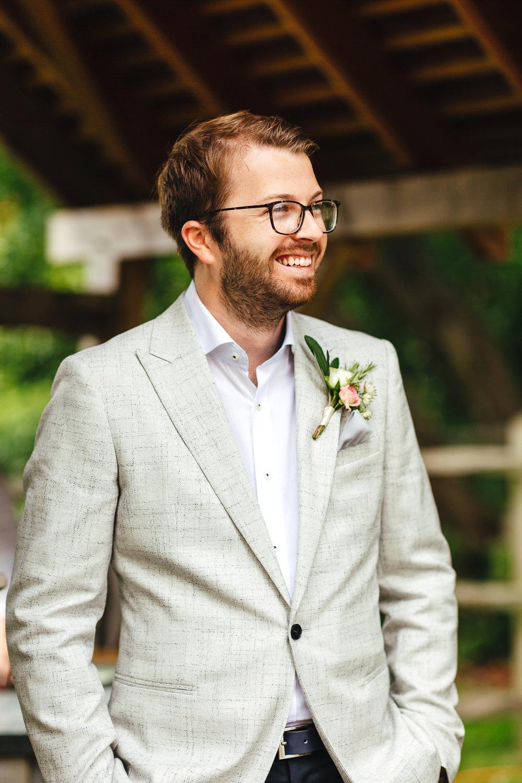 Groom Suit Grey Jacket Glasses Open Collar Millbridge Court Wedding Kirsty Mackenzie Photography