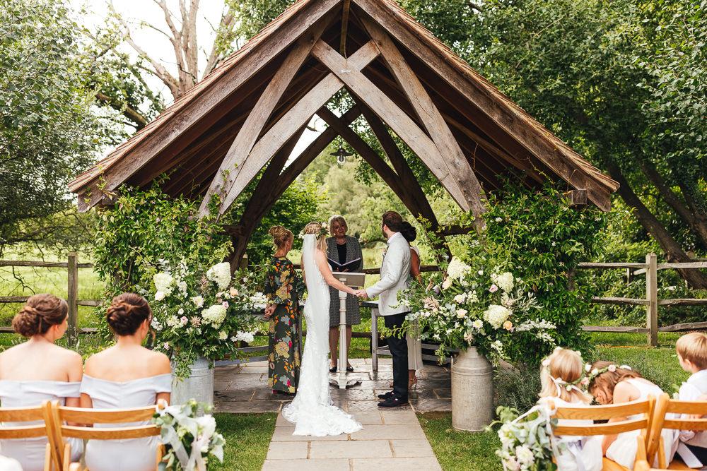 Milk Churn Flowers Ceremony Aisle Outdoor Millbridge Court Wedding Kirsty Mackenzie Photography