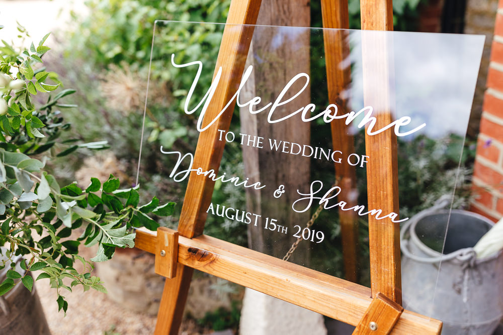 Perspex Acrylic Welcome Sign Signs Signage Millbridge Court Wedding Kirsty Mackenzie Photography