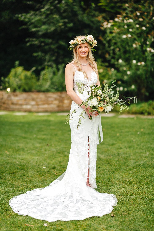 Dress Gown Bride Bridal Enzoani Lace Fit Flare Split Veil Flower Crown Millbridge Court Wedding Kirsty Mackenzie Photography