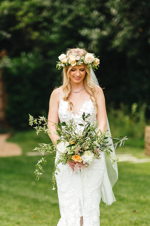 Bride Bridal Bouquet Flowers Coral Rose Peony Greenery Foliage Millbridge Court Wedding Kirsty Mackenzie Photography