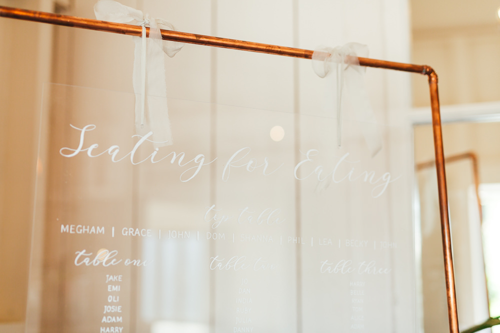 Perspex Acrylic Table Plan Seating Chart Sign Signs Signage Millbridge Court Wedding Kirsty Mackenzie Photography