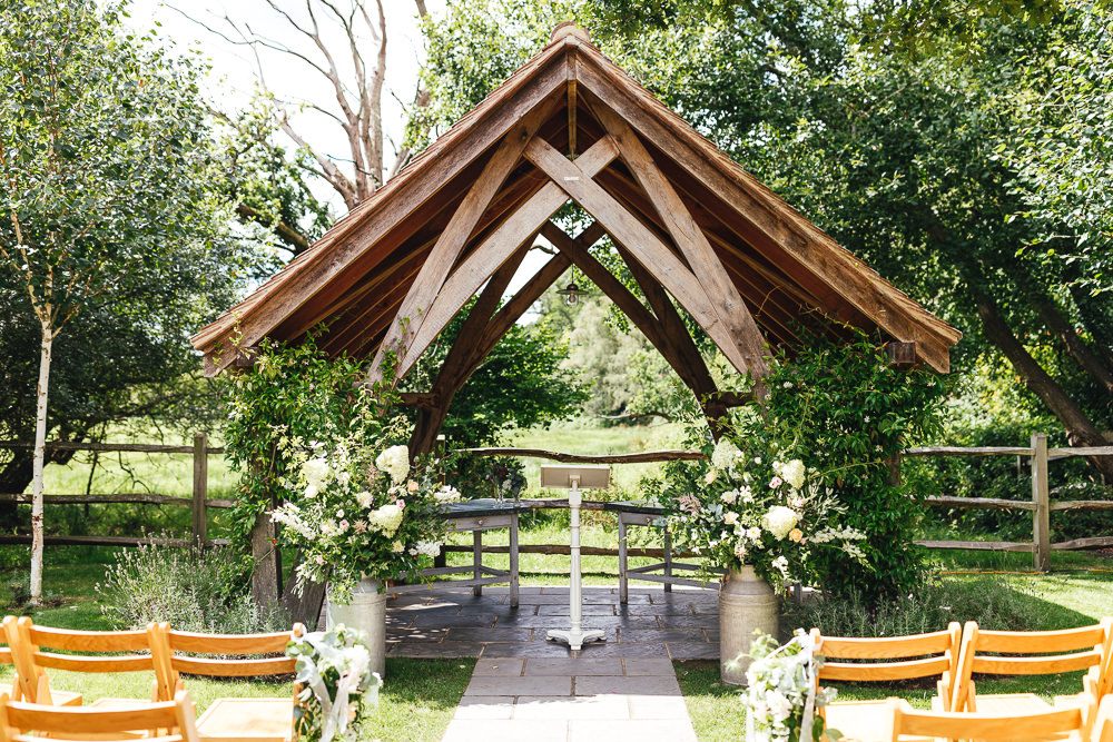 Milk Churn Flowers Ceremony Aisle Millbridge Court Wedding Kirsty Mackenzie Photography