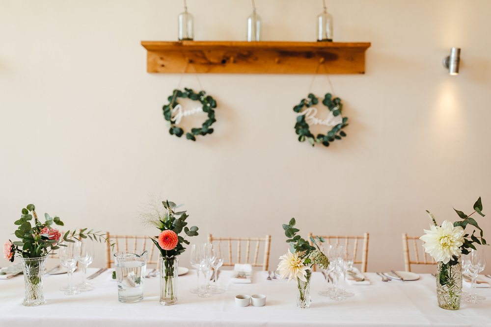 Centrepiece Flowers Vase Natural Pretty Top Table Millbridge Court Wedding Kirsty Mackenzie Photography