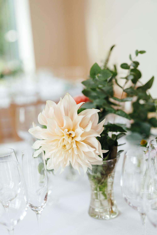 Centrepiece Flowers Vase Natural Pretty Dahlia Cafe Au Lait Millbridge Court Wedding Kirsty Mackenzie Photography
