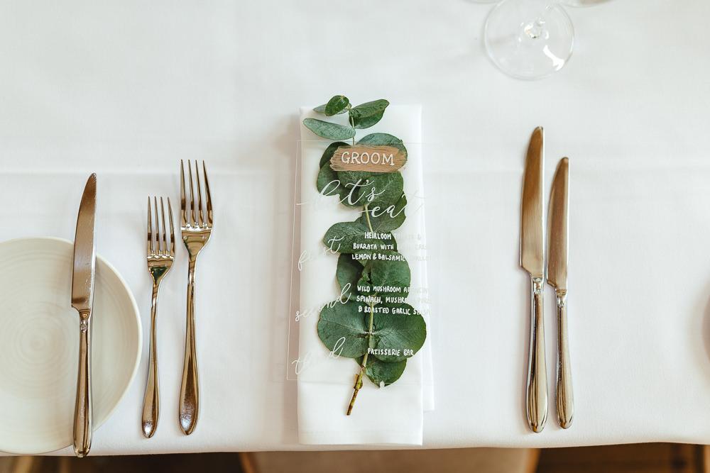Perspex Acrylic Place Name Menu Eucalyptus Place Setting Millbridge Court Wedding Kirsty Mackenzie Photography