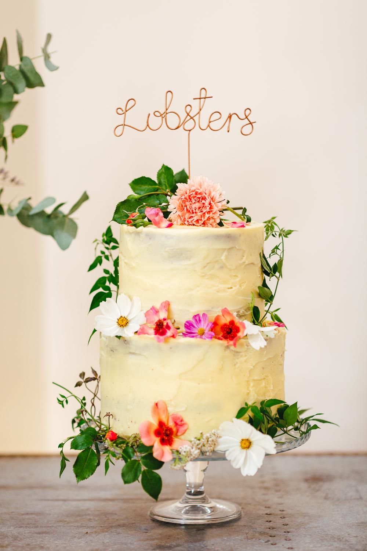 Buttercream Floral Flower Cake Topper Millbridge Court Wedding Kirsty Mackenzie Photography