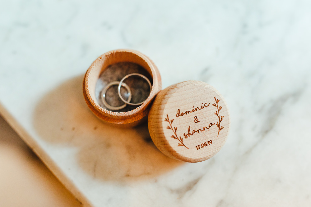 Wooden Ring Box Millbridge Court Wedding Kirsty Mackenzie Photography