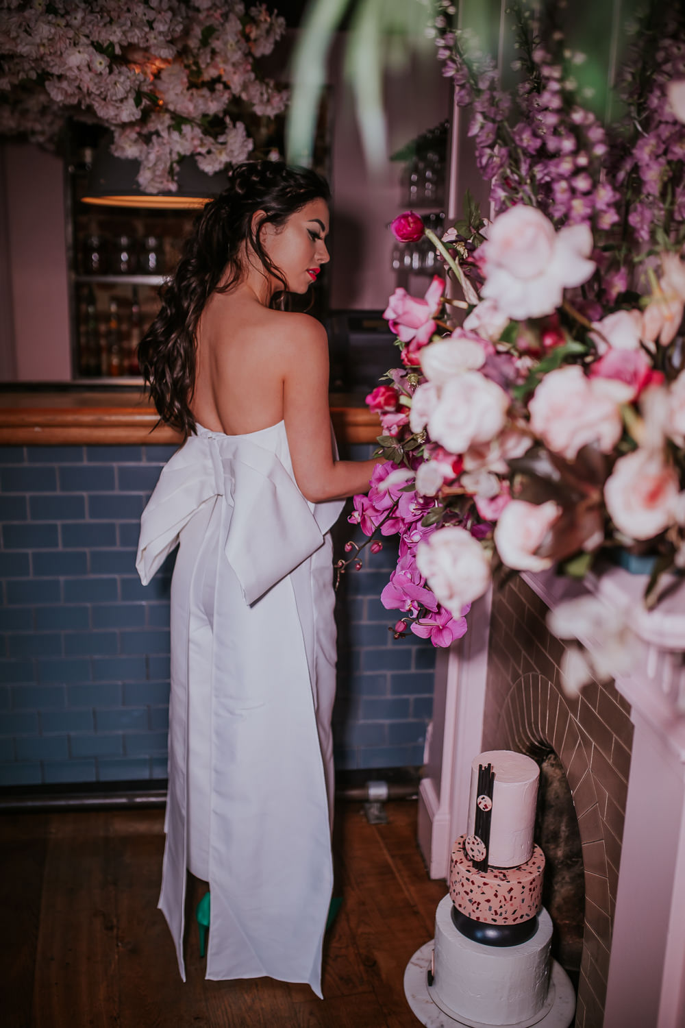 Bride Bridal Jumpsuit Trousers Cool Bow Edgy Modern Pink Wedding Ideas Aurora Grey Photography