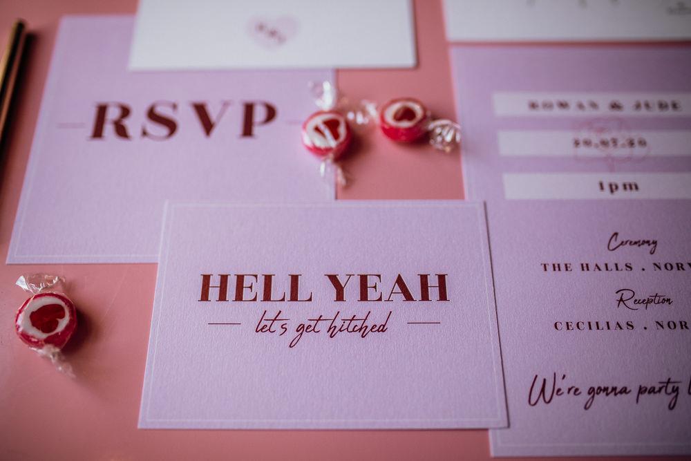 Stationery Invites Invitations Flat Lay Cool Modern Pink Wedding Ideas Aurora Grey Photography