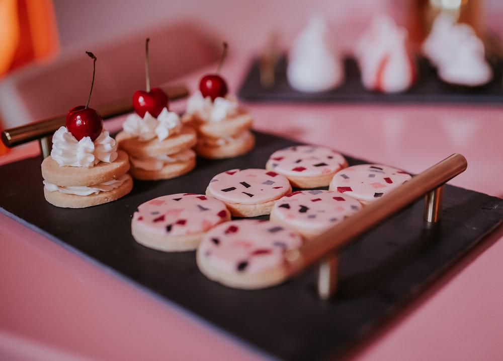 Terrazzo Cakes Treats Modern Pink Wedding Ideas Aurora Grey Photography