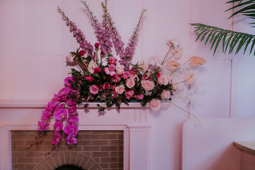 Orchid Flowers Flamingo Flower Lily Rose Ribbon Modern Pink Wedding Ideas Aurora Grey Photography