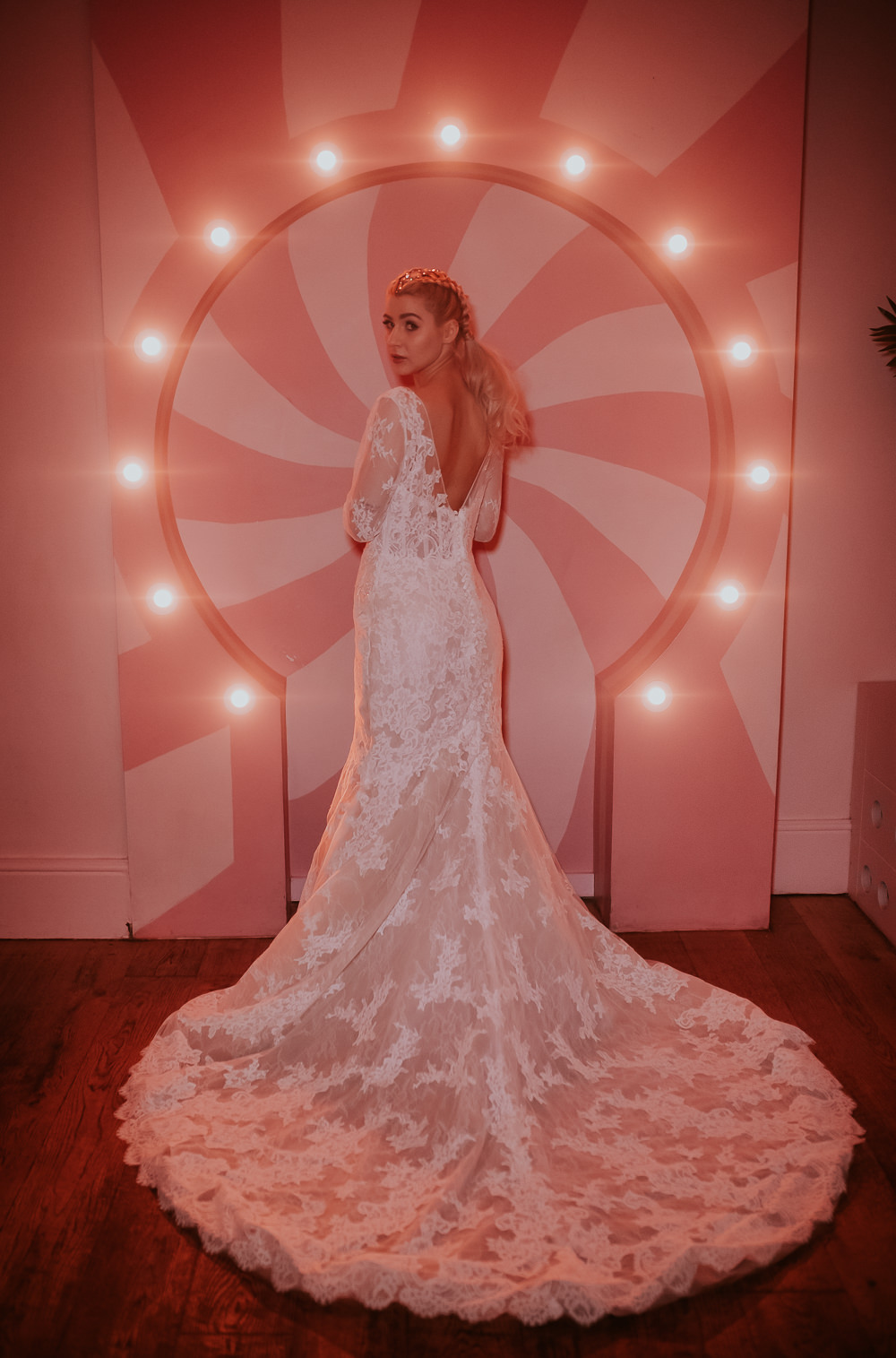 Bride Bridal Dress Gown Lace Fit Flare Lace Sleeves Modern Pink Wedding Ideas Aurora Grey Photography