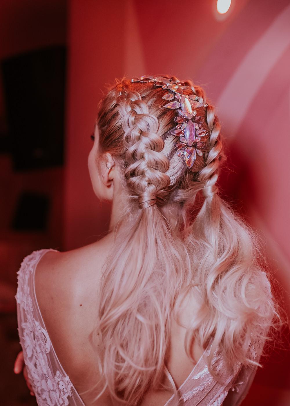 Bride Bridal Hair Style Up Do Pony Tail Plaits Braids Modern Pink Wedding Ideas Aurora Grey Photography