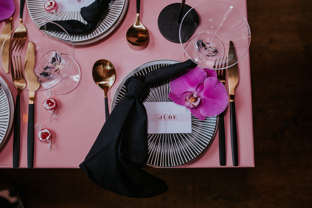 Tablescape Decor Decorations Black Candles Flowers Gold Cutlery Place Setting Napkin Modern Pink Wedding Ideas Aurora Grey Photography