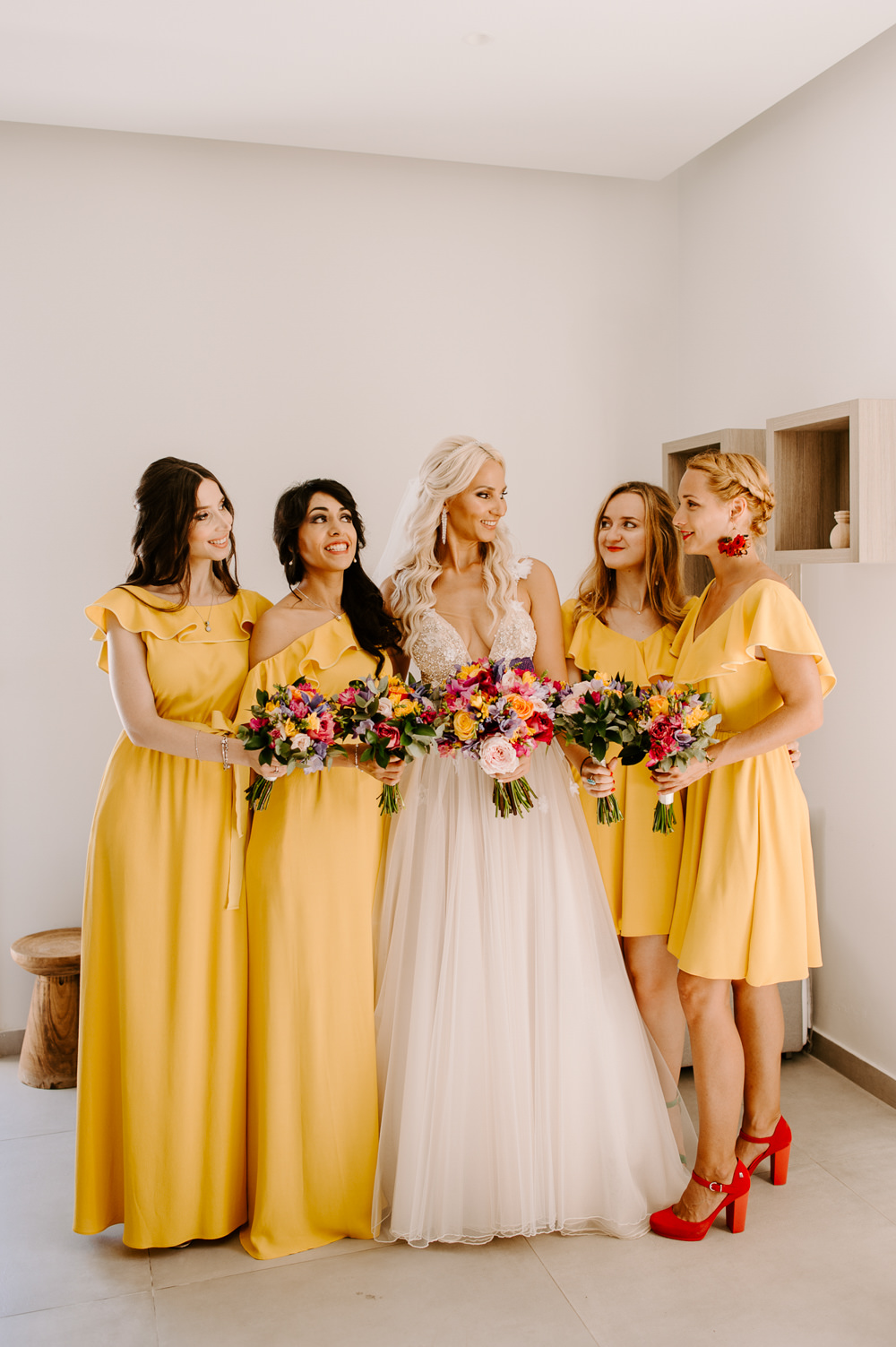 Bridesmaids Bridesmaid Dress Dresses Yellow Santorini Wedding Phosart Photography