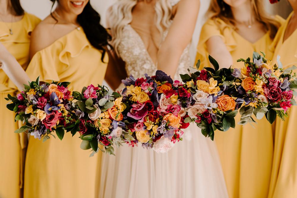 Bride Bridal Bridesmaids Bouquet Flowers Colourful Santorini Wedding Phosart Photography