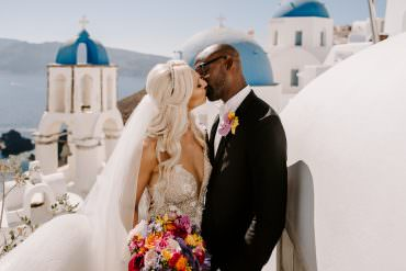 Utterly Beautiful Multicultural Floral Destination Wedding in Santorini