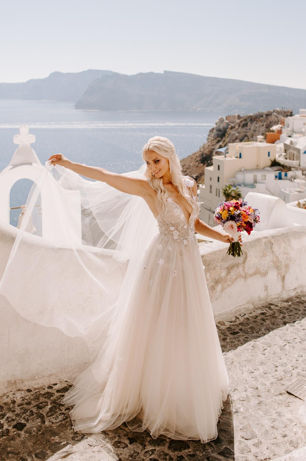 Bride Bridal Dress Gown Muse by Berta Lace Tulle Veil Santorini Wedding Phosart Photography