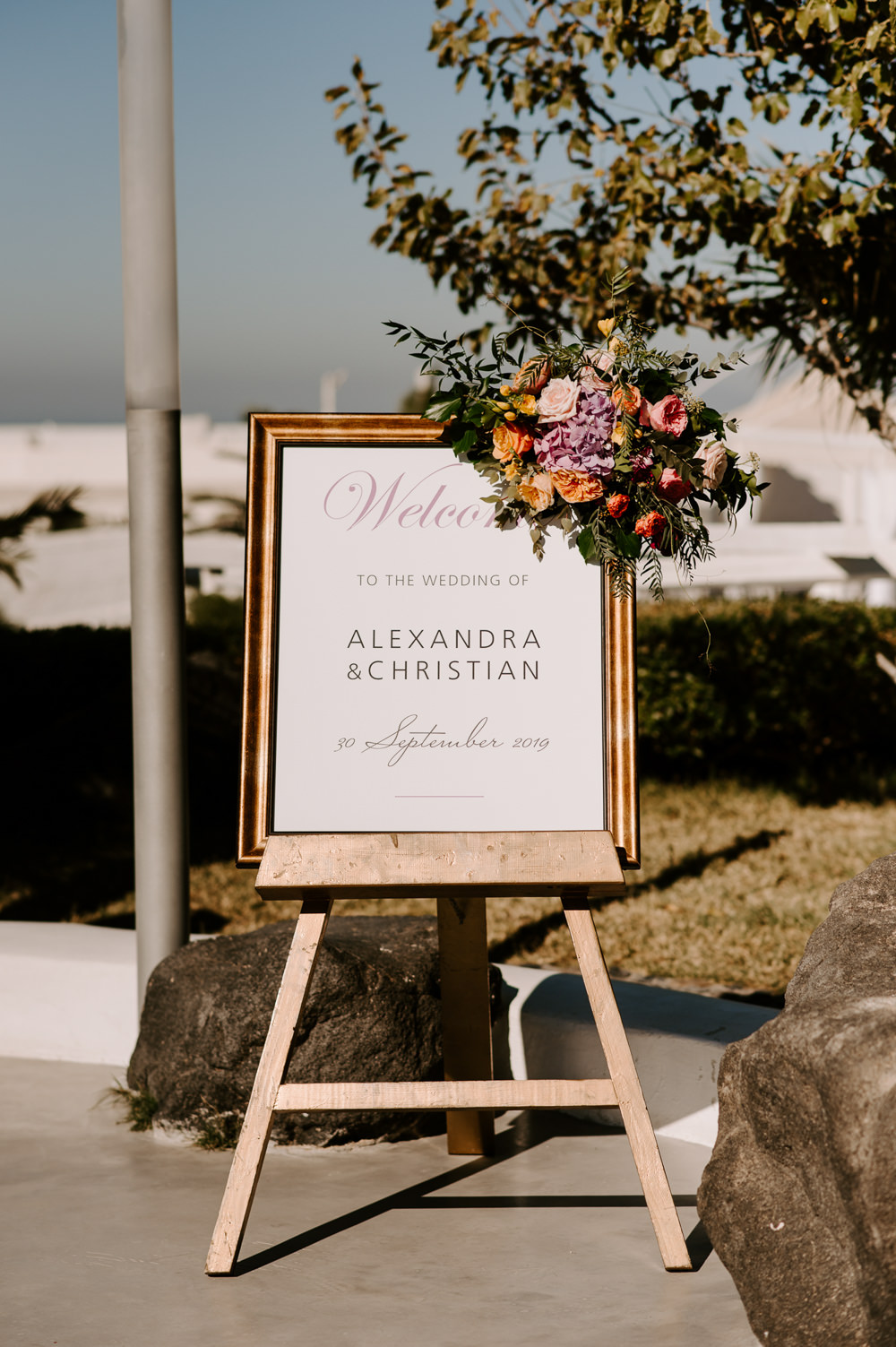 Welcome Sign Signs Signage Flowers Santorini Wedding Phosart Photography
