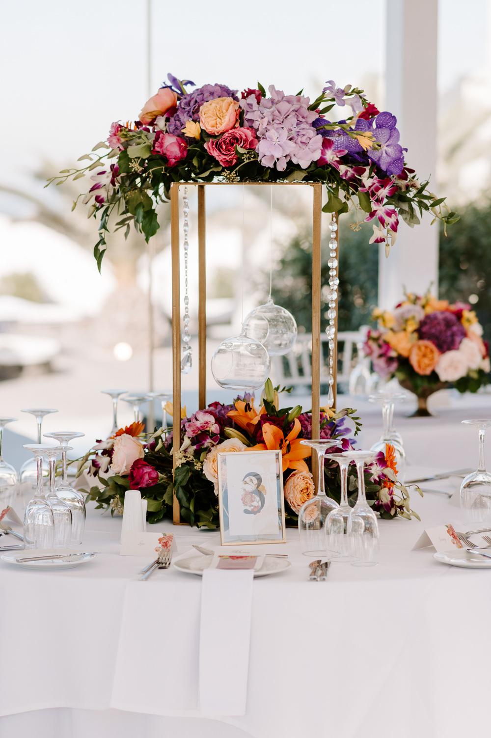 Table Flowers Centrepiece Colourful Tall Candles Decor Santorini Wedding Phosart Photography