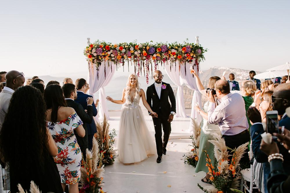 Ceremony Backdrop Aisle Flower Arch Pampas Grass Rose Colourful Santorini Wedding Phosart Photography